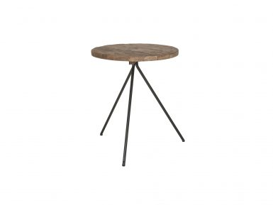 Teakhout bijzettafel met een diameter 50cm blad.