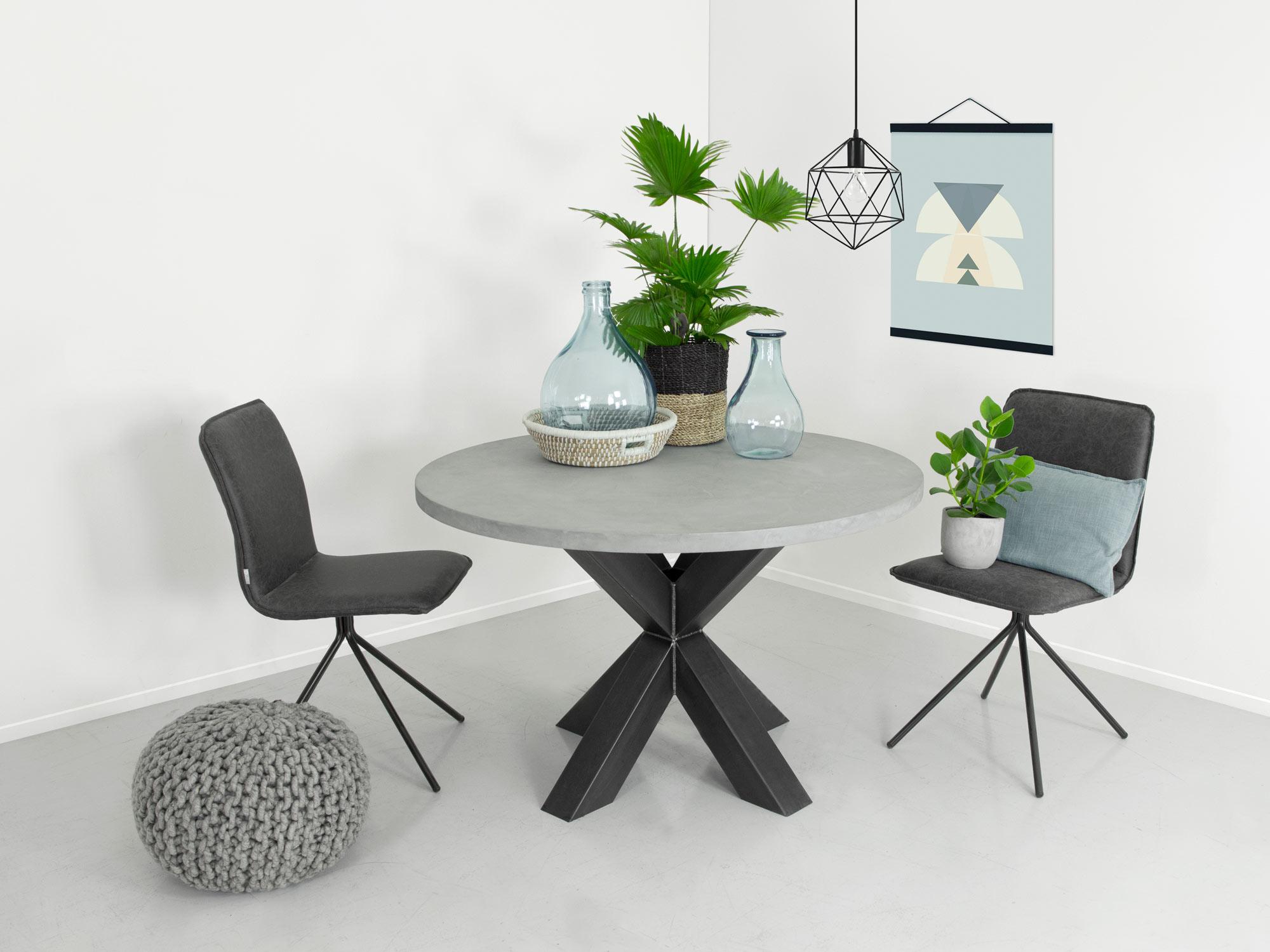 Ronde Eethoek Tafel : Eettafel betonlook rond ozzy fØrn maatwerk meubelen