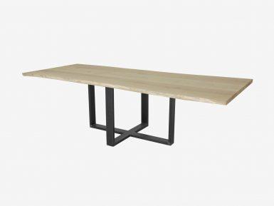 Boomstam tafel met industriele poot op maat gemaakt.