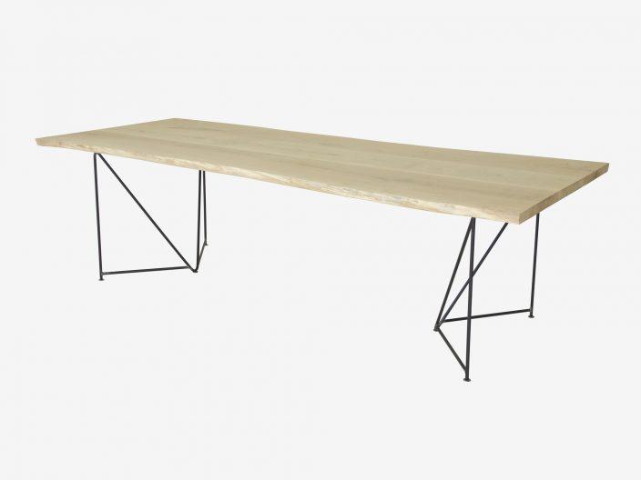 Industriele tafel met boomstam blad