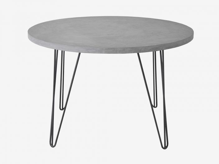 Ronde industriele tafel met hairpin poten en betonblad