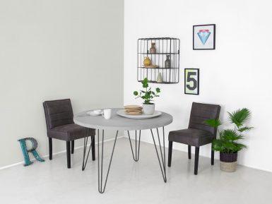Ronde industriele tafel Tijl met hairpin poten en betonblad