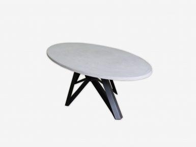Ovale eettafel betonlook op maat