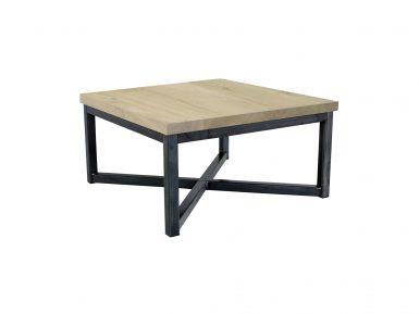 Robuuste salontafel op maat gemaakt x poot frame eikenhout