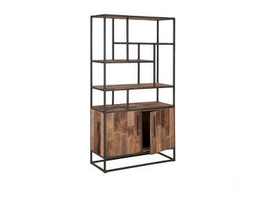 teak boekenkast-urban met 2 deuren 180x100x40cm dbodhi urban collection
