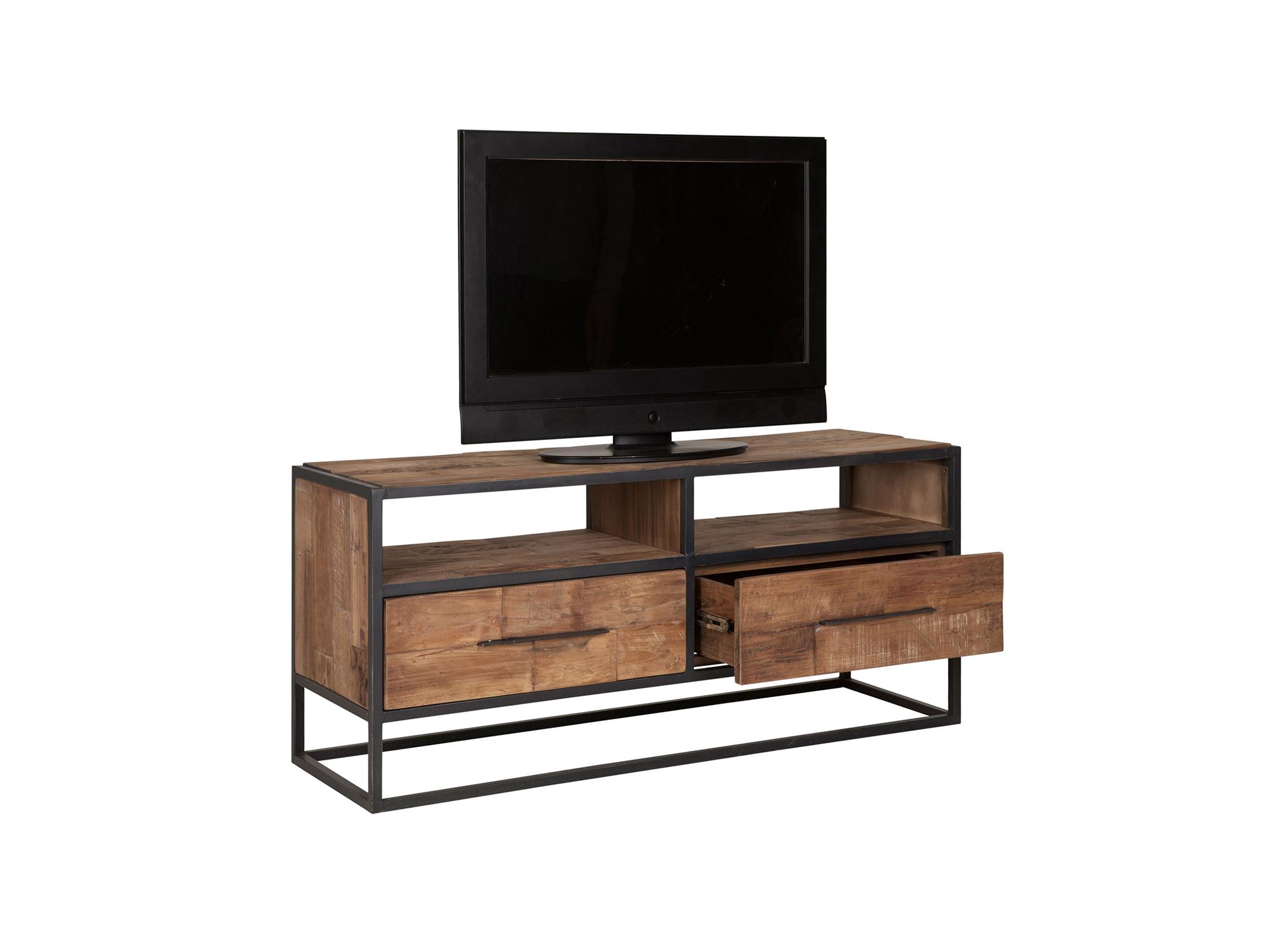 Tv Meubel Teakhout : Bruut tv meubel zwart staal teakhout cm u mavérus meubelen