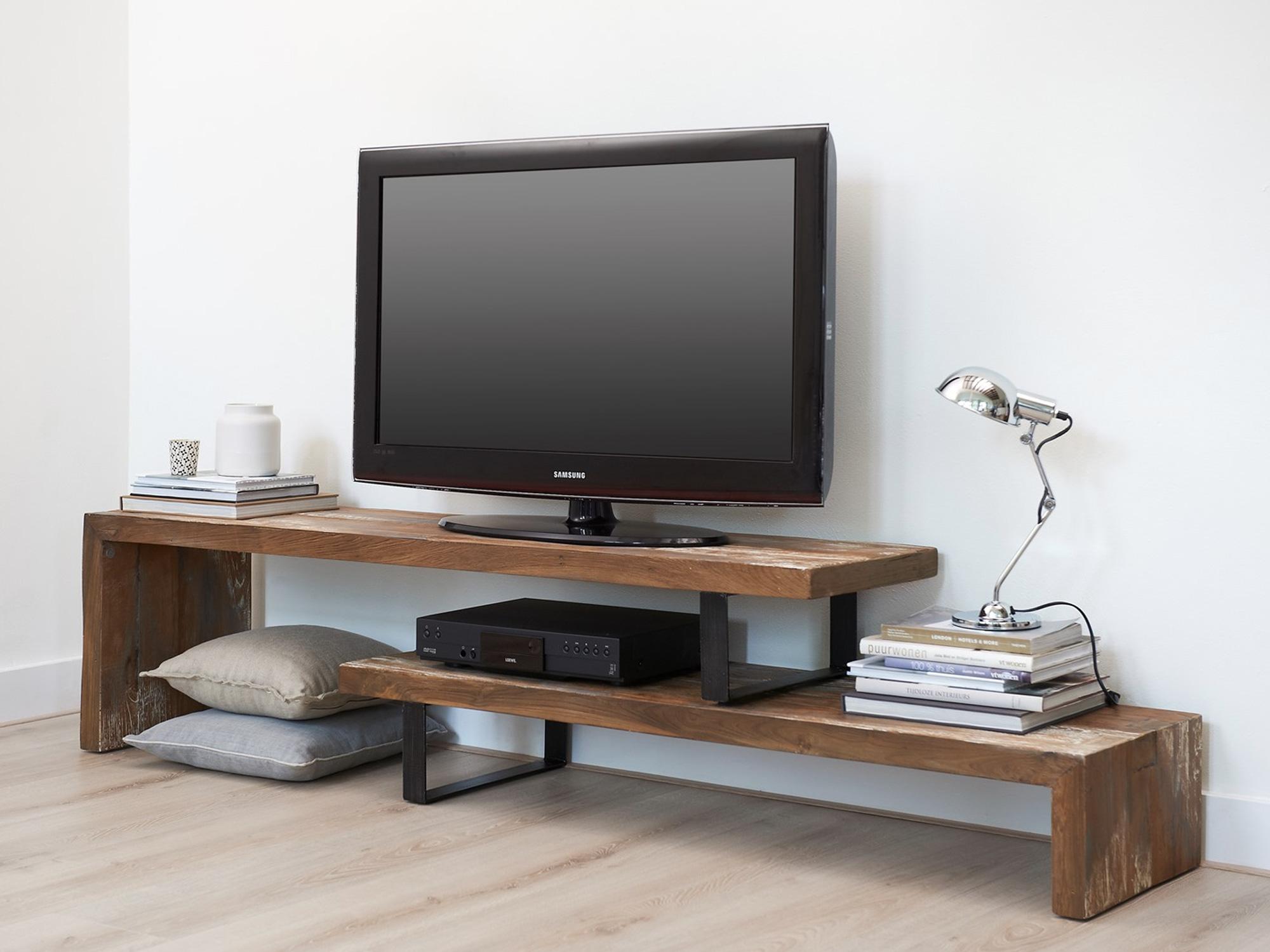Lang Tv Meubel.Teakhout Tv Meubel Taste D Bodhi Met 2 Planken Forn Maatwerk