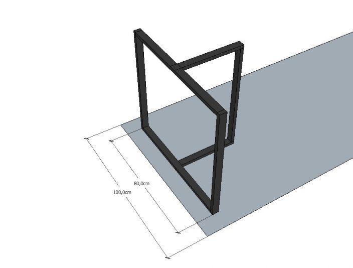 Uitleg afmetingen schraag tov tafelblad betonlook