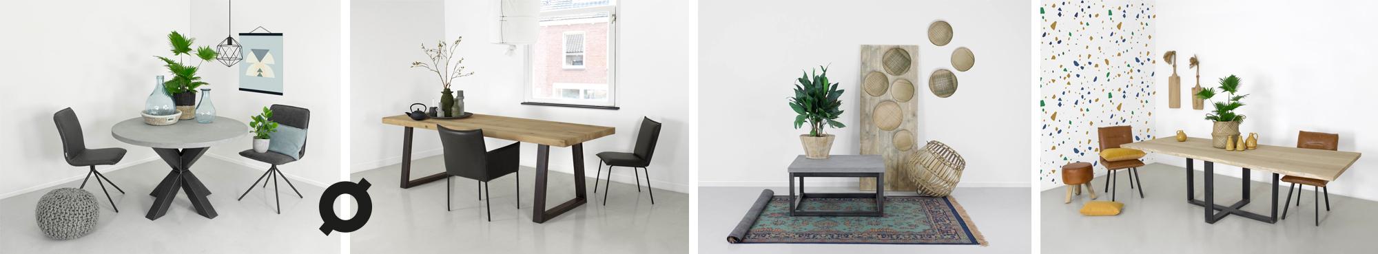 Betonlook tafels en rustiek eiken tafels maatwerk